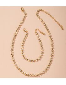 Conjunto De Collar De Pulsera De Aleación Geométrica Con Incrustaciones De Perlas