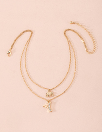 Fashion Golden Animal Alloy Multilayer Necklace With Diamond Letters
