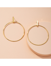 Fashion Golden Ring Alloy Hollow Earrings