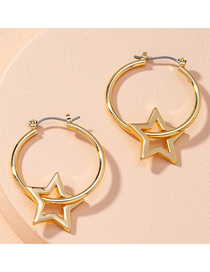 Fashion Golden Circle Five-pointed Star Alloy Hollow Earrings
