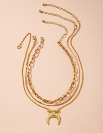 Fashion Golden Horn Thin Chain Alloy Multilayer Necklace
