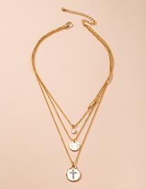 Fashion Golden Round Piece Cross Diamond Alloy Multilayer Necklace
