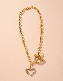 Fashion Golden Alloy Diamond Heart Hollow Necklace
