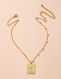 Fashion Golden Pearl Rose Geometric Alloy Stitching Necklace