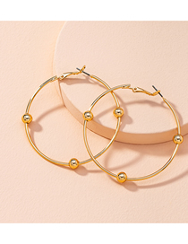Fashion Golden Beaded Round Alloy Hollow Earrings