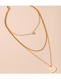 Fashion Golden Disc Letters Pearl Alloy Multilayer Necklace