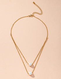 Fashion Golden Pearl Round Alloy Thin Chain Multilayer Necklace