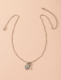 Fashion Golden Diamond Heart Key Alloy Necklace