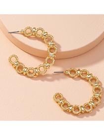 Fashion Golden Hollow Chain C Type Alloy Earrings