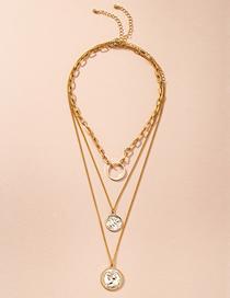 Fashion Golden Portrait Round Alloy Multilayer Necklace