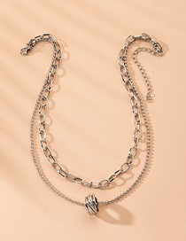 Fashion Silver Round Bead Chain Alloy Circle Multilayer Necklace