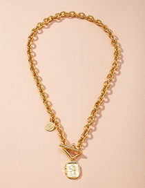 Fashion Golden Beauty Head Coin Thick Chain Alloy Necklace