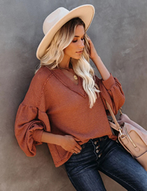 Fashion Orange Loose V-neck Knitted Lantern Sleeve Top