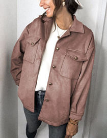 Fashion Leather Pink Solid Color Long-sleeved Pocket Deerskin Jacket