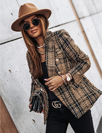 Fashion Brown Long-sleeved Double-breasted Suit Collar Printed Coat