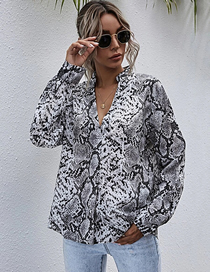 Fashion Gray Patterned V-neck Long Sleeve Loose Shirt