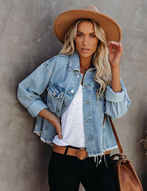 Fashion Light Blue Loose Frayed Cropped Denim Jacket