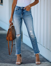 Fashion Light Blue Straight Jeans With Ripped Raw Edges