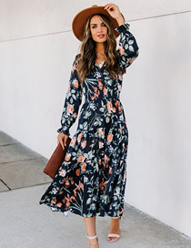 Fashion Color Printed Mid-waist Long-sleeved V-neck Dress