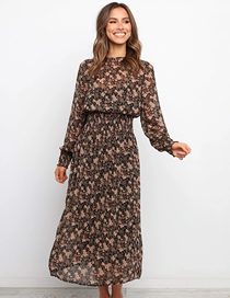 Fashion Brown Long Sleeve Printed Chiffon Dress
