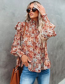 Fashion Color Pleated High Collar Small Floral Print High Collar Shirt