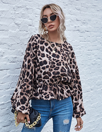 Fashion Light Brown Leopard Print Bat Shirt Long Sleeve Top