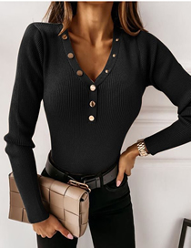 Fashion Black V-neck Button Slim Solid Color Base Shirt