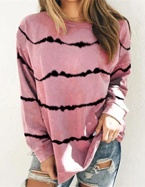Fashion Red Wine Round Neck Long Sleeve Tie-dye Printed Loose Sweatshirt