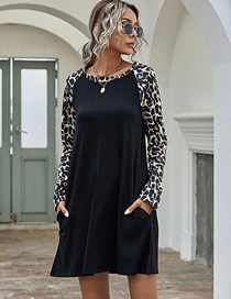 Fashion Black Leopard Print Stitching Round Neck Long Sleeve Dress
