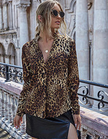 Fashion Khaki Deep V Long Sleeve Leopard Print Loose Shirt