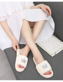 Fashion White Home Slip-resistant Crown Plush Slippers