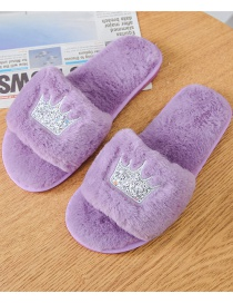 Fashion Purple Home Slip-resistant Crown Plush Slippers
