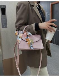 Fashion Pink Silk Scarf Lock Lacquered Edge Crossbody Shoulder Bag