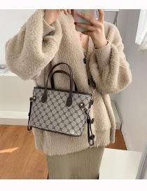 Fashion Coffee Color Printed Geometric Contrast Crossbody Shoulder Bag