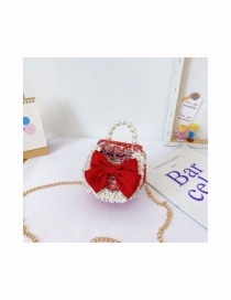 Fashion Round Red Pearl Chain Contrast Color Bow Crossbody Shoulder Bag