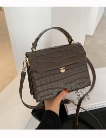 Fashion Stone Pattern Coffee Solid Color Single Shoulder Crossbody Bag With Lock Flap