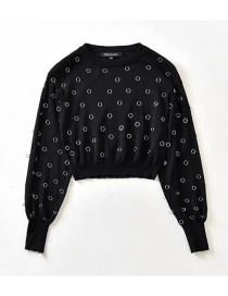 Fashion Black Round Neck Puff Sleeve Sweater With Metal Buckle