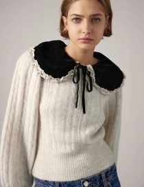 Fashion Creamy-white Velvet Doll Collar Lace Trim Sweater