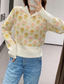 Fashion Color Printed Contrast Wool Sweater