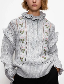 Fashion Gray Embroidered Ruffled Hollow Knit Sweater