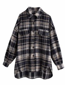 Fashion Navy Blue Woolen Check Shirt Jacket