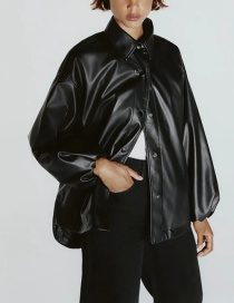 Fashion Black Single-breasted Jacket With Faux Leather Hem Slit