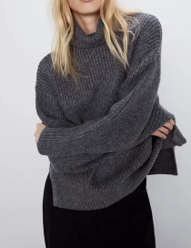 Fashion Gray Alpaca High Neck Blend Loose Knit Sweater