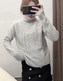 Fashion Gray Handmade Tassel Beaded Turtleneck Loose Sweater