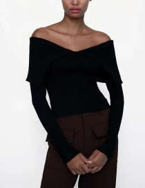 Fashion Black One-shoulder Long-sleeved Tight Knit Top
