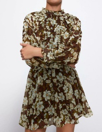 Fashion Color Flower Print Long Sleeve Loose Dress