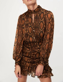 Fashion Brown Animal Print Open Back Pleated Dress