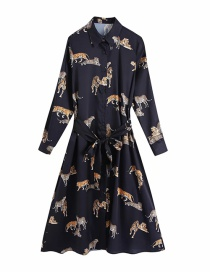 Fashion Black Tiger Print Belted Dress