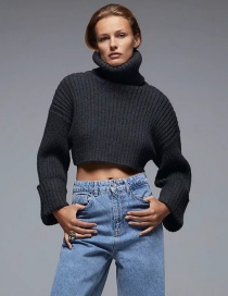 Fashion Black Turtleneck Solid Color Short Sleeve Knit Sweater