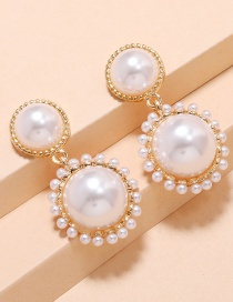 Fashion White Pearl Star Round Alloy Earrings